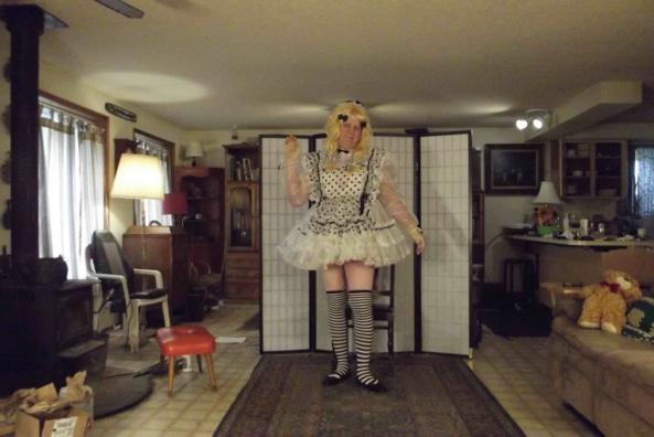 I'm just not sure... - do Polka Dots go with Stripes?, sissy,crossdress,, Feminization,Dolled Up,Sissy Fashion