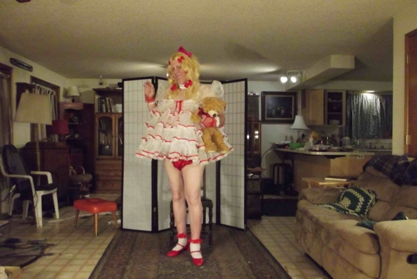 Santa's Littlest Helper - I realized it had been ages since I posted this dress and thought.. tis the season :), sissy baby,crossdress, Adult Babies,Dolled Up,Holiday,Sissy Fashion