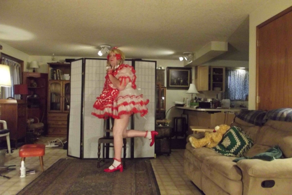 Red and naughty - I am such a tease, sissy,cross,dress,, Feminization,Dolled Up,Sissy Fashion