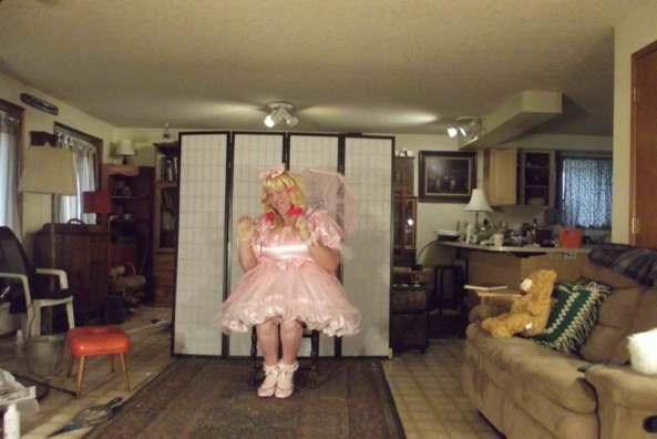 a pink confection I own - a lovely pink dress don't you think?, sissy,cross,dress,pink, Feminization,Dolled Up,Sissy Fashion