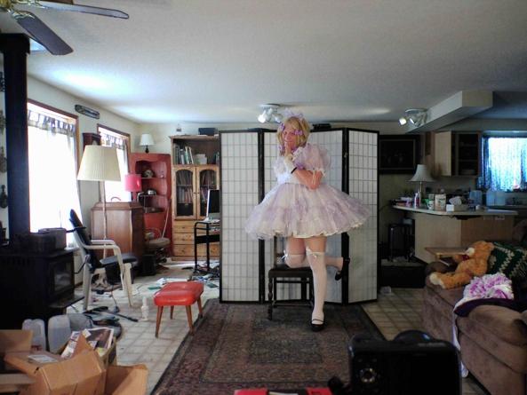 Lavender lovely - my most prissy lavender dress.  Good? Bad? Ugly?, sissy,crossdress, Feminization,Dolled Up,Sissy Fashion