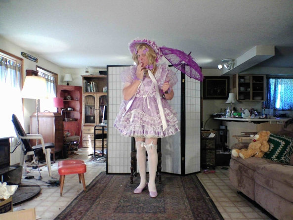 My  Easter dress and bonnet - I love this look, sissy,cross dress,party dress,, Feminization,Dolled Up,Sissy Fashion