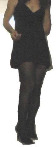old dress, minidress,pumps,stockings