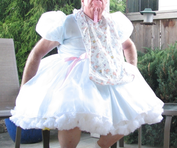 Diapered Sissy Baby Pottypanties - Blue Crenoline Dress and Petticoats, Diapers, diapers,sissy dress,petticoats, Adult Babies