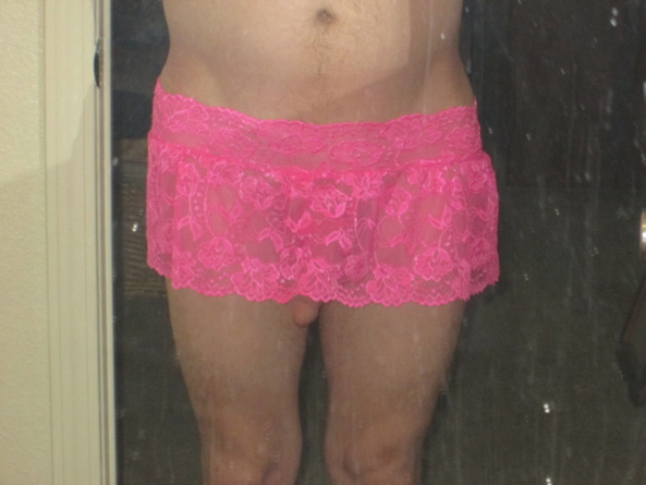 pink slutty skirt, pink skirt