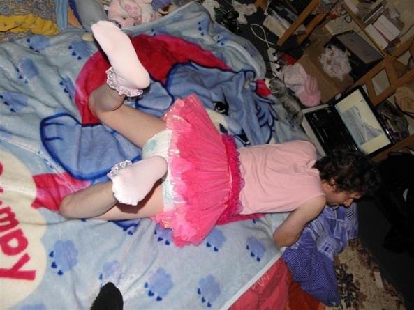 Me on diaper and little skirt, sissy diaper