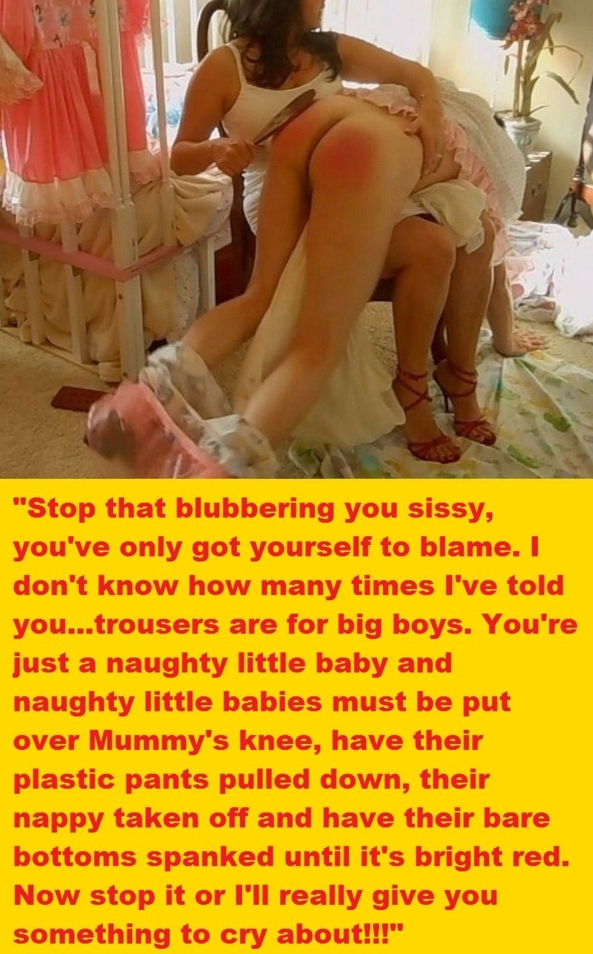 Cappie time again. - I've put together another couple of cappies featuring two very dominant women humiliating their little sissies. I hope you enjoy them., Captions,sissy baby,adult baby,humiliation,spanking,domination, Adult Babies,Feminization,Dominating Mistress Or Master,Humiliation,Diaper Lovers,Spankings