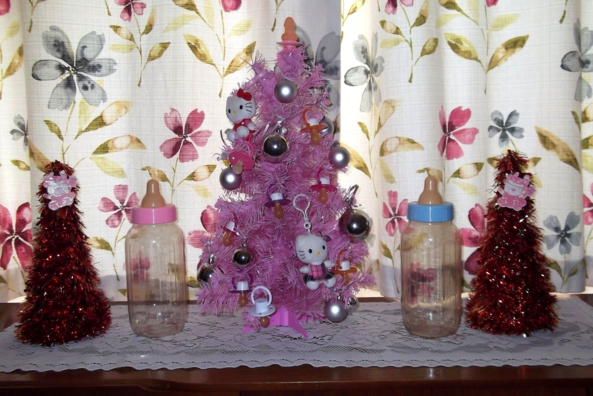 My Sissy Xmas Tree - This is the tree and decs that I have in my living room - I hope everybody approves (lol). xxx, sissy,Christmas,tree,dummies,pacifiers,dildo, Holiday