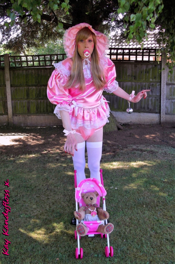 Tinker Bell Pansy - Sent out into the garden in my new very short pink dress with Sammy Sissybear - but Mistress made me wear my humiliation bells so sissy baby will make music where ever she goes. xxx, sissy,sissy baby,nappies,plastic panties,dress,outdoor humiliation, Adult Babies,Dominating Mistress Or Master,Sissy Fashion,Dolled Up,Feminization,Diaper Lovers