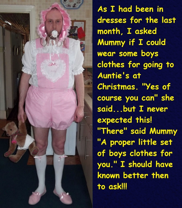 My first go at making a caption - Mummy knows best, especially at xmas! Trying my hand at writing a cappie - i hope you like it., caption,sissybaby,baby cloyhes,humiliation,adultbaby, Adult Babies,Dominating Mistress Or Master,Humiliation,Diaper Lovers