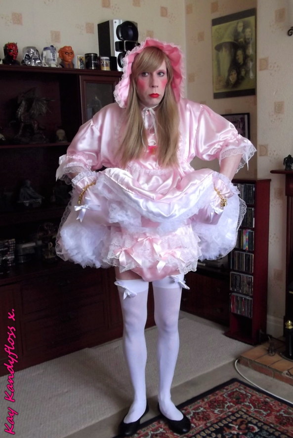 Sissy Baby Doll - Dressed as a little sissy dolly in my finest frillies, big nappy and locked on padded mittens - all ready to be played with by Mistress. xxx, sissy,sissy baby,satin dress,petticoat,locking mittens,nappy, Adult Babies,Diaper Lovers,Dolled Up,Dominating Mistress Or Master