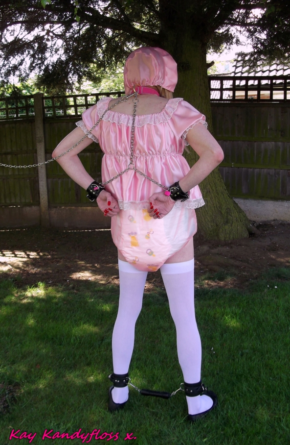 Outdoor sissy baby humiliation. - I've been a naughty girl so I ended up all chained up outdoors in a very little pink dress with nappies and plastic panties for all to see., sissy,sissy baby,punishment,humiliation,nappy,diaper,plastic panties,dress,bondage,outdoors, Adult Babies,Feminization,Dominating Mistress Or Master,Dolled Up,Bondage,Diaper Lovers