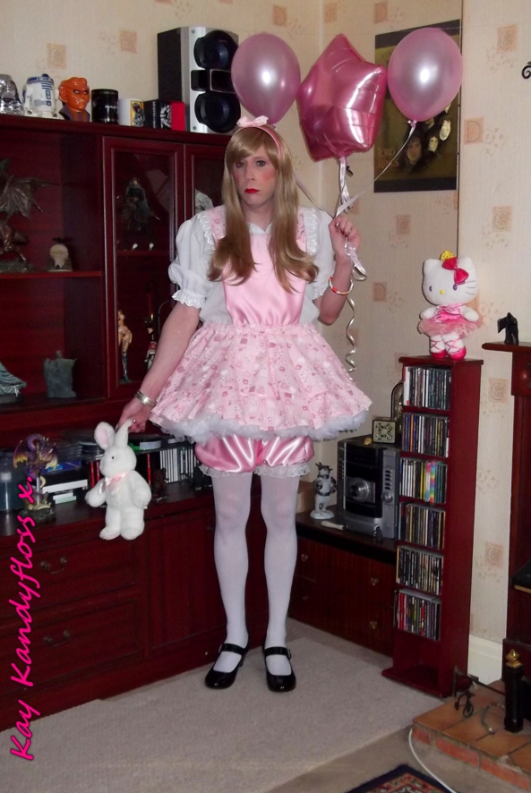 Time to go to the sissy tea party - Here I am all dressed up and ready to go to Pink Balloon's sissy tea party with balloons and a present for my dear friend. xxx, sissy,sissy girl,frilly sissy,adult little girl,party,balloons,dress,bloomers, Adult Babies,Dolled Up,Fairytale,Feminization