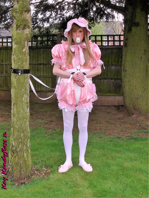 Rompers and reins - Not satisfied with taking me out in my frilly rompers and locked into baby reins Mistress rolled them up to show off my nappy and left me fastened up out there. xxx, Sissy,sissy baby,nappies,plastic panties,rompers,baby reins,bondage,outdoor humiliation, Adult Babies,Feminization,Dominating Mistress Or Master,Dolled Up,Bondage,Diaper Lovers