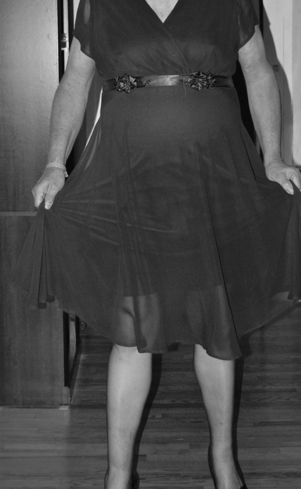 Black & White Shots - Blue Chiffon over Satin w/Nylons Diaper Plastic Panties, Crossdresser Diaper AB DL, Feminization,Adult Babies,Sissy Fashion,Diaper Lovers,Dolled Up