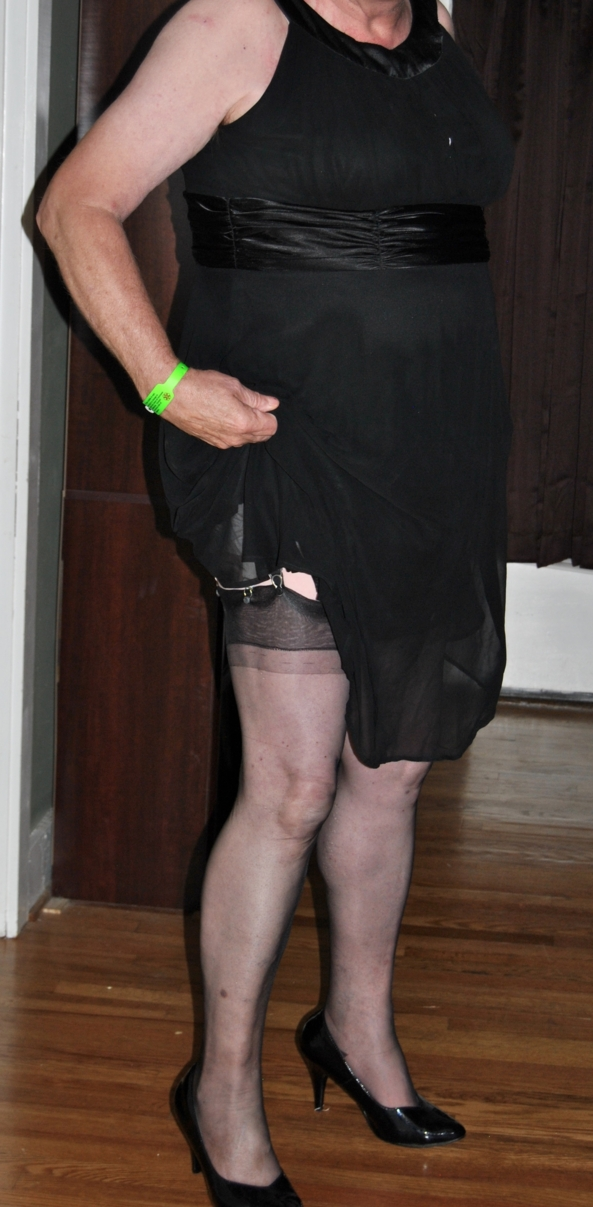 Black Chiffon dress with diaper & plastic panties - Everyday dressing, Crossdresser Diaper AB DL, Feminization,Sissy Fashion,Fairytale,Adult Babies,Diaper Lovers,Dolled Up