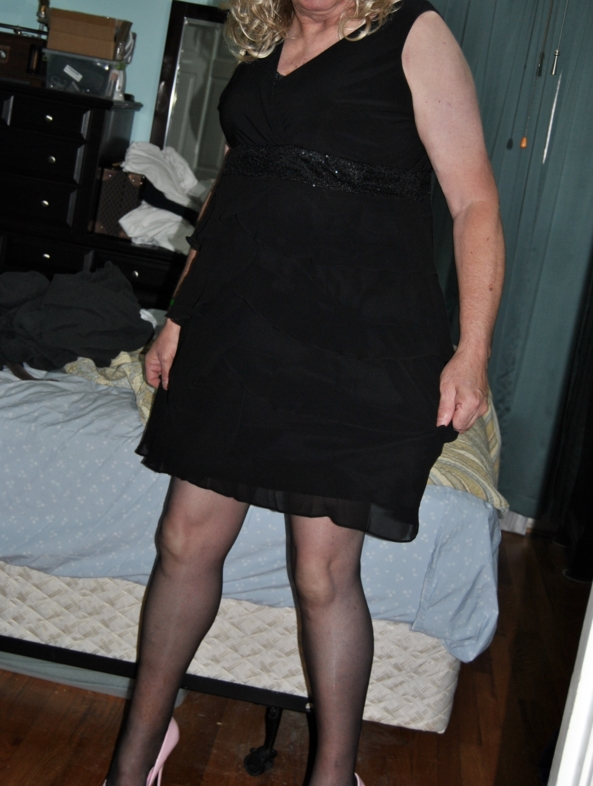New Dress For Christmas - Black Chiffon, nylons, diaper high heels, Crossdresser Diaper AB DL, Adult Babies,Sissy Fashion,Diaper Lovers,Dolled Up,Holiday