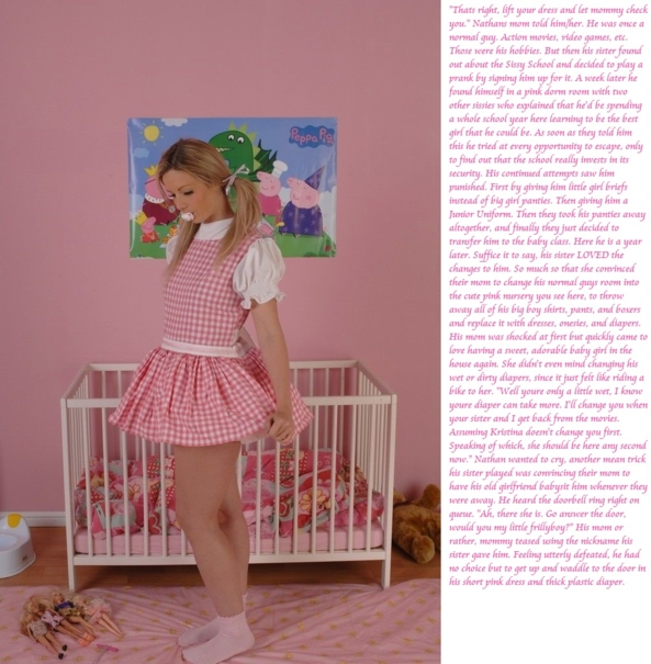 Frillyboys Caption, Sissy School,Diaper,Sissy,Sissy Baby, Adult Babies,Feminization,Dolled Up