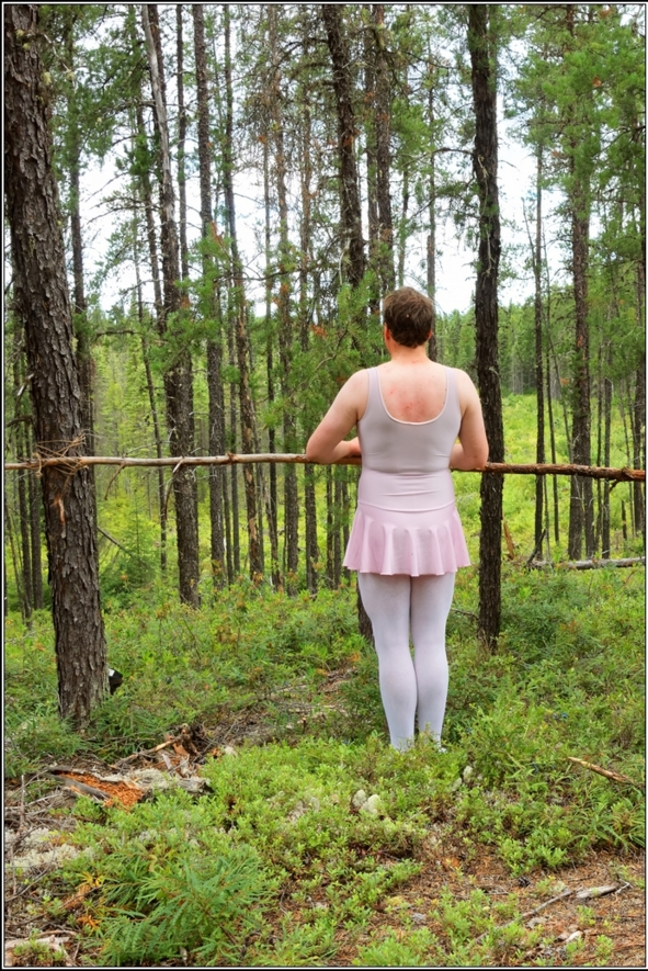 The ballet lesson - Part 1 - Ballet lesson in the wood, skirted,leotard,pink,ballet,outdoor,crossdresser,forest, Body Suits,Sissy Fashion,Fairytale