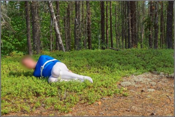 Bound in wood 2 - Part 1, gymnast,leotard,shiny,blue,metallic,forest,wood,outdoor,bound,bondage, Body Suits,Sissy Fashion,Fairytale,Bondage