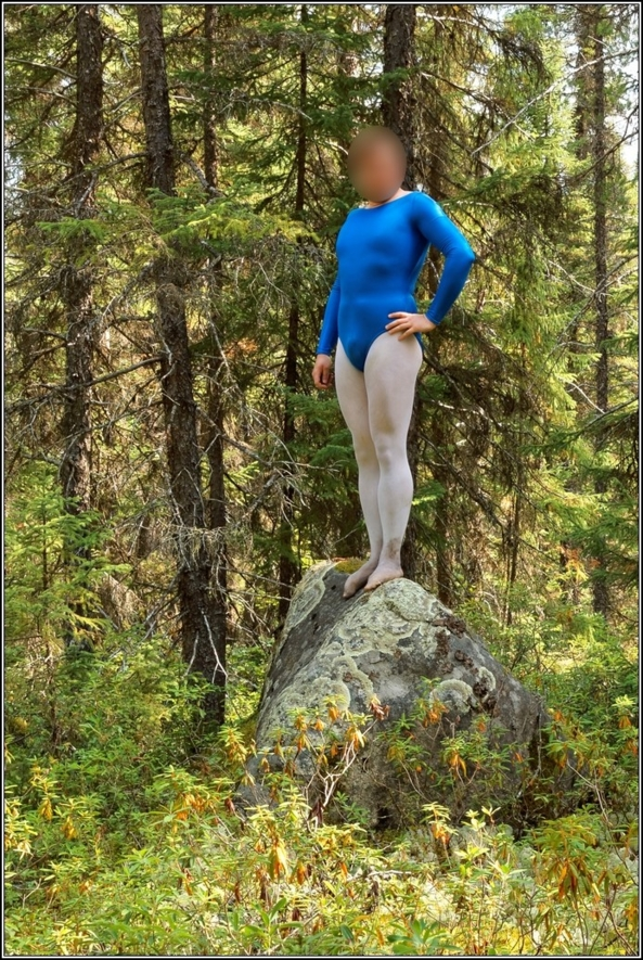 Gymnast in shiny leotard, gymnast,leotard,shiny,blue,metallic,forest,wood,outdoor, Fairytale,Sissy Fashion,Body Suits