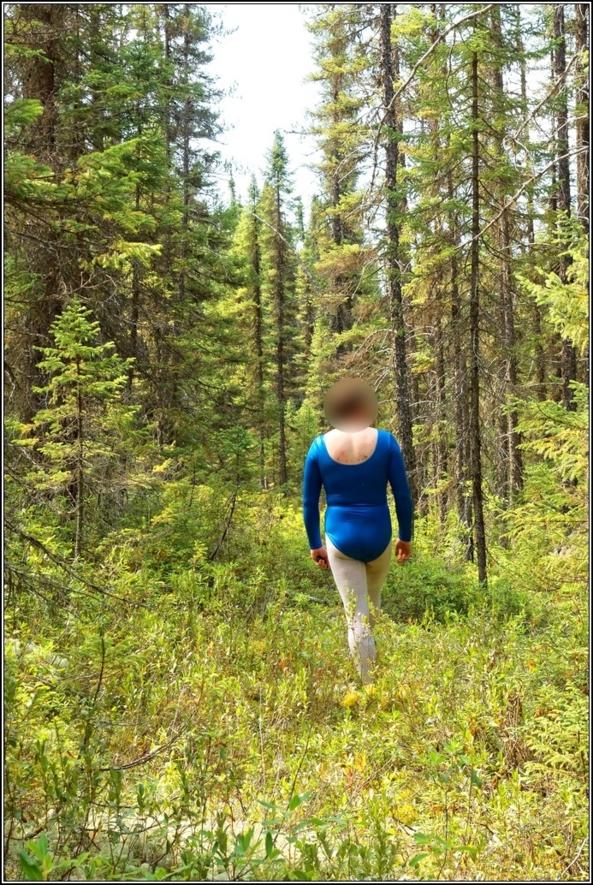 Gymnast in shiny leotard, gymnast,leotard,shiny,blue,metallic,forest,wood,outdoor, Body Suits,Fairytale,Sissy Fashion