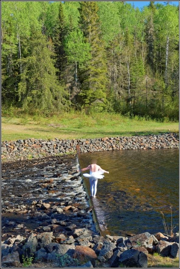 Sissy ballerina 12 - Crossing the river, ballerina,tutu,platter,ballet,outdoor,crossdresser,forest,river, Body Suits,Sissy Fashion,Fairytale