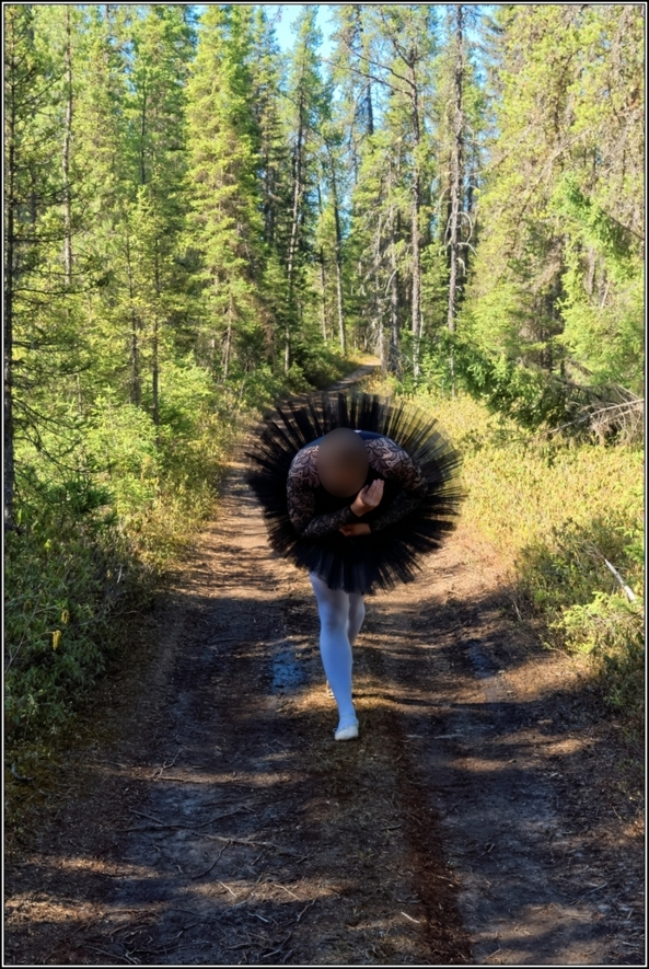 Black leotard with tutu 2 - part 2, ballet,ballerina,sissy,forest,outdoor,tutu,platter,black, Body Suits,Sissy Fashion,Fairytale