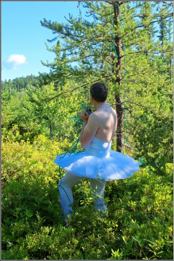 Sissy Ballerina 8 - Bound to a tree - Part 1, ballerina,tutu,platter,ballet,outdoor,crossdresser,forest, Body Suits,Sissy Fashion,Fairytale