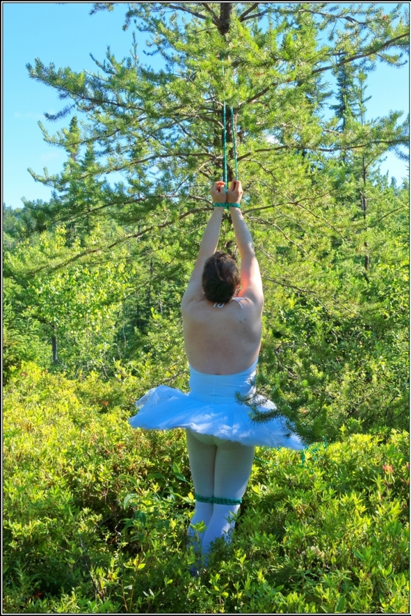 Sissy Ballerina 8 - Bound to a tree - Part 2, crossdresser,outdoor,ballet,platter,tutu,ballerina,forest,bondage, Sissy Fashion,Body Suits,Fairytale,Bondage