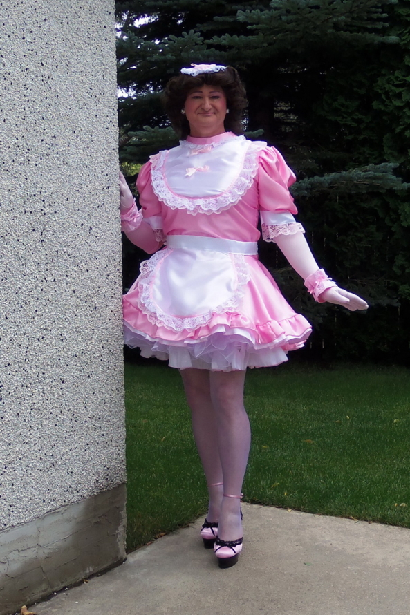 PFD 002 - Frilly High Neck Sissy Dress, Sissy,Sissymaid, Feminization,Sissy Fashion,Dolled Up