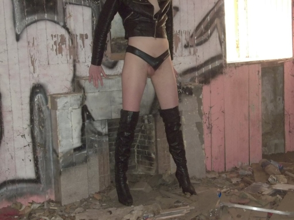 Sissy in the cottage - This was taken in an abandoned cottage near my home. I was in there all alone with my camera on a tripod. A guy walking his dog looked in the window and caught me! Almost sh*t myself but he just laughed and walked on., high heels,thigh high boots,leather,outdoor,thong, Sissy Fashion,Gay Orientation,Dared Or Bets,Humiliation,Dolled Up