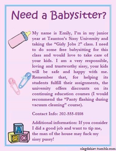 Need a Babysitter?, sissy,caption,babysitter,babysitting, Feminization,Medium Change,Increased Sexuality