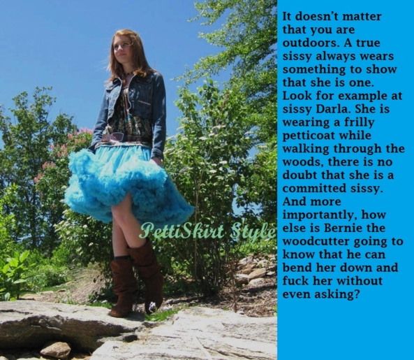 The sissy mark, sissy,petticoat,petticoats,woods,sex,fucked,sissyness, Sissy Fashion,Dolled Up,Increased Sexuality,Vaginal Sex,Anal Sex