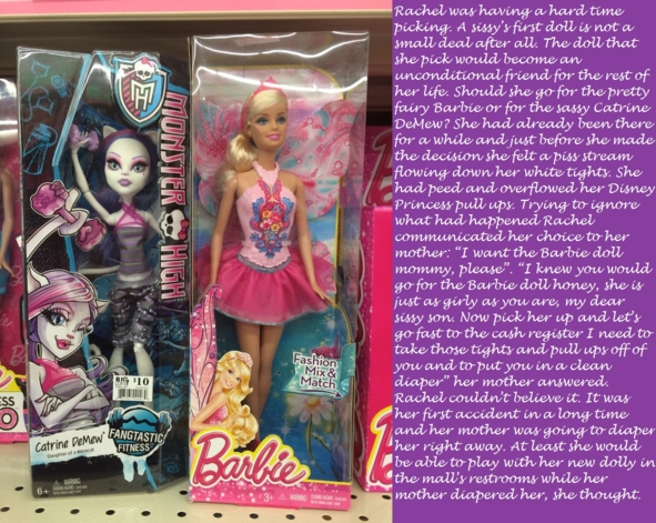 The choice - A sissy gets her first dolly, yay!, doll,peeing,pull ups,barbie,monster high,diapers,feminization,sissy,toys,sweet, Feminization,Dolled Up,Wetting Without Diapers