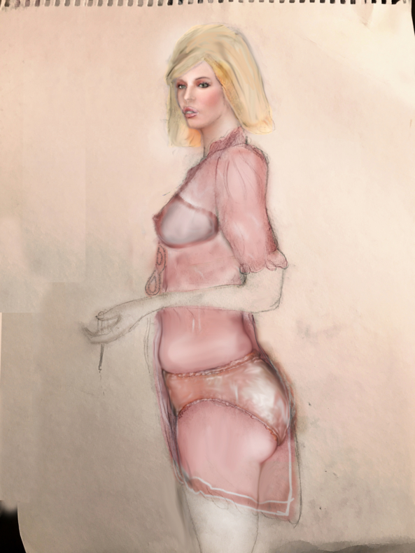 working sketch - pencil sketch in pink, modeling noir, Sissy Fashion,Pop Culture,Slow Change,Feminization