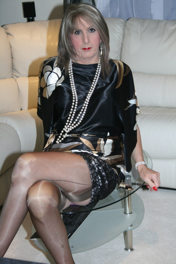 likkle sissy jenn - all dressed in satin alone :-((, satin,mini skirt,alone,waiting,sexy,showing legs,stockings,fully fashioned, Sissy Fashion