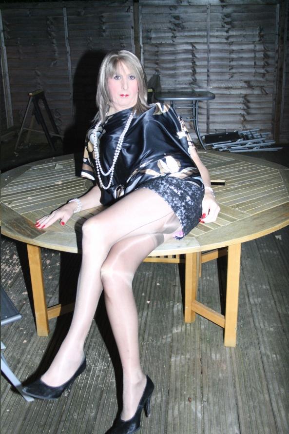 sissy jenn lounging in satin - sissy satin top and glittery mini skirt, satin,stockings,sexy,fully fashions, Sissy Fashion