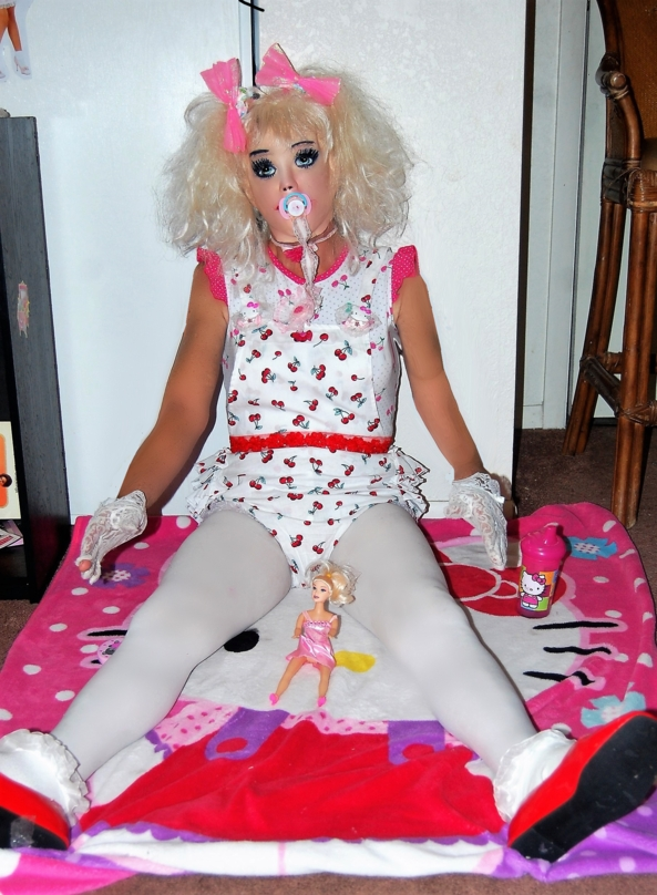 Dollie and lil Dolly - Dollie poses in her new romper, onsie and plastic panties, Dollies nursery,Dolie sissy,Fashion doll,baby doll, Adult Babies,Thumb Sucking,Diaper Lovers