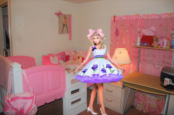 Fashion Dollie - fashion Dollie poses in a pretty dress, fashion doll,better thn Barbie,Dollie sissy, Feminization,Sissy Fashion,Pop Culture,Dolled Up
