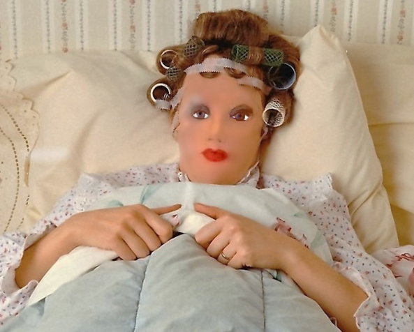 it is not always pretty - In this picture Dollie is preparing for the next days shoot. , . She asked us at Dollies nursery to photograph her like this so everyone knows with some effort we can all be a fashion doll, xcurlers in your hair,night cream,false eye lashes,makup,foundations,hair style,nail salon,beauty parlor,Dollie sissy, Other Body Modifications,Slow Change,Feminization,Quick Change,Medium Change,Dolled Up,Pop Culture,Spankings,Sissy Fashion,Technological Transformation