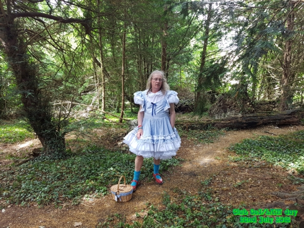 Dorothy in the woods - Deedee at a lovely day out in a club in Kent near Brand's Hatch racing circuit. Acres of space to wander around in and i wore my dress all day with 2 pettis under it to give lots of pouff., Dorothy,blue sissy dress,Deedee, Sissy Fashion,Fairytale