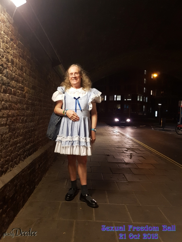 Deedee goes to the Ball - I went to the Sexual Freedom ball in London, and had lots of fun dancing in my lovely dress , Deedee,blue dress,street, Feminization,Sissy Fashion,Fairytale