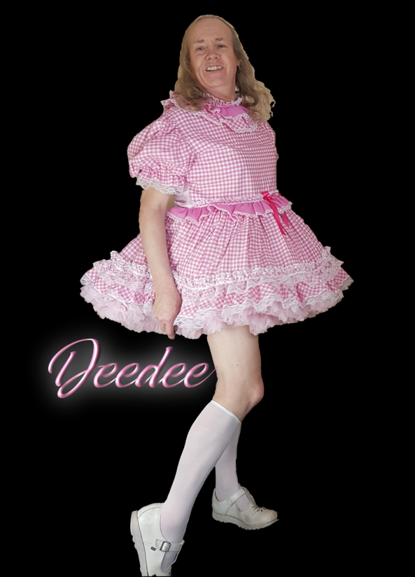 Deedee's New Dress - My new dress finally arrived from Barbara Tam, so I couldn't wait to try it on and do a few pics., Deedee,Sissy,Pink Dress,Barbara Tam,White socks, Sissy Fashion,Dolled Up,Feminization