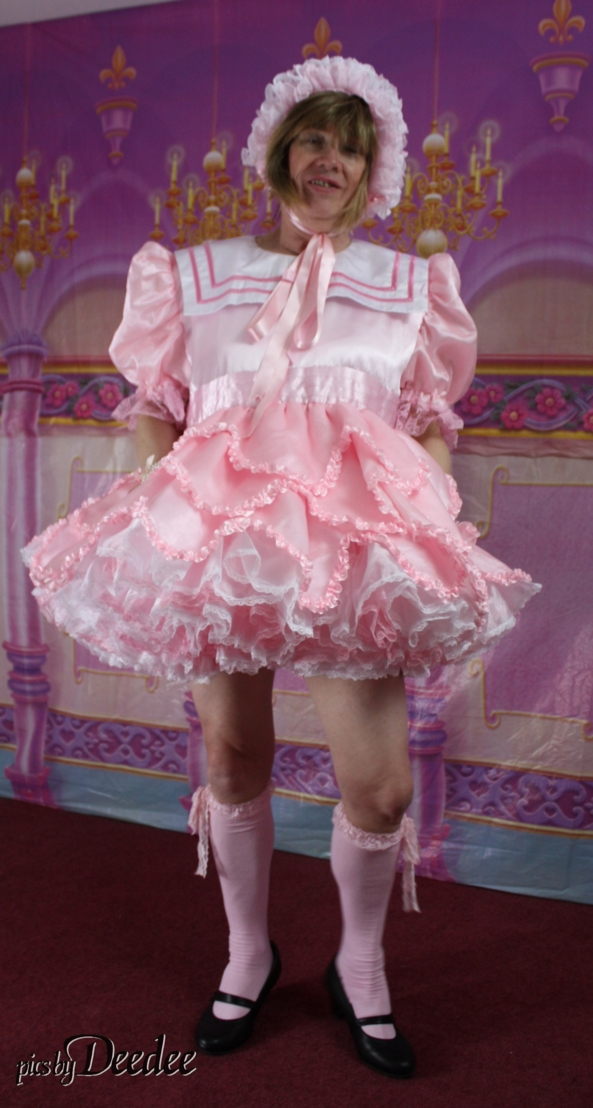 Pink Sailor Dress - Another from the Huggy's set - Deedee in pink sailor style dress, Sissy,Huggy's,pink,Deedee, Adult Babies,Sissy Fashion