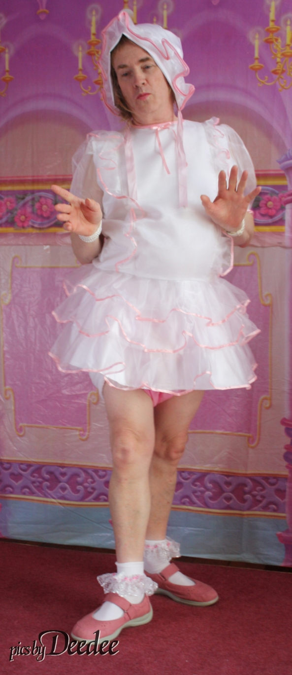 white n pink dress - Another of Huggy's delectable collection of dresses, sissy baby, Adult Babies