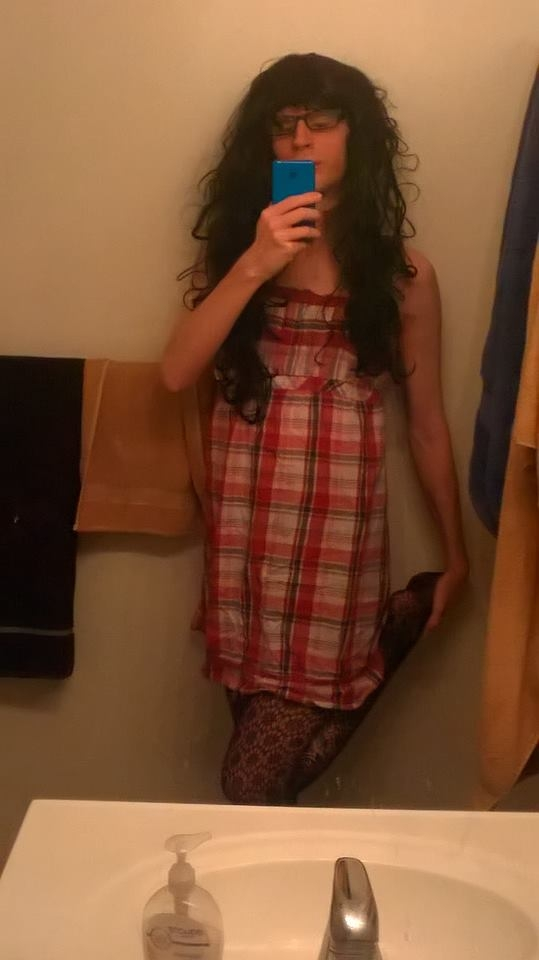 New fishnets, I love them - Showing off my new cute fishnets, Fishnets,Dress,Glasses, Sissy Fashion,Bisexual Orientation