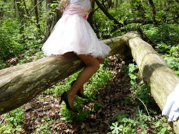 My hike in the forest one day...... - Nice resting spot, cute,dress,pink,outside,dressup,, Dolled Up