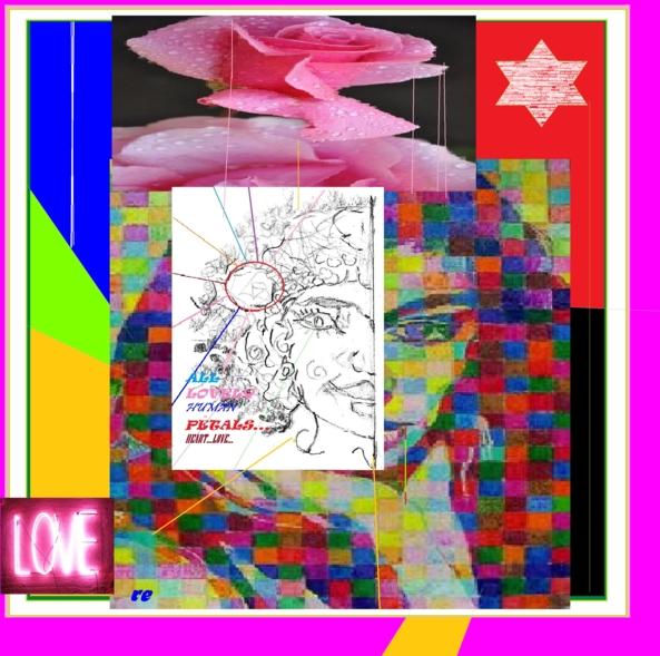 MODERN POS CUBIST MESSAGE ( LOVE DEEP FACE )-D - A DEEPER POST MODERN CUBIST ENLARGEMENT, FEM LOVE MESSAGE,WOMANISH VALORIZATION,GIRLS GURLS AND LOVE,MODERN POS ART,DG COLLAGE, Feminization