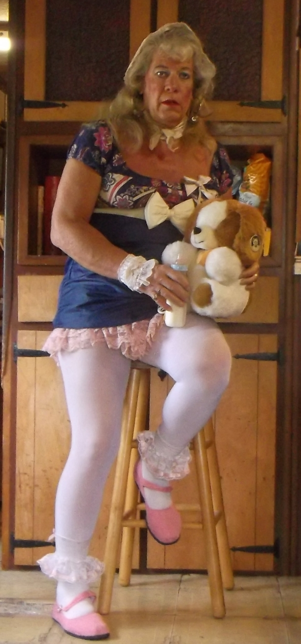 a few new sissybaby pansy pics - sissy pansy in white tights, one of his LG dresses, and obviously happy that he is permanently a little girl, sissy,diapers,aduld baby girl, Adult Babies,Diaper Lovers